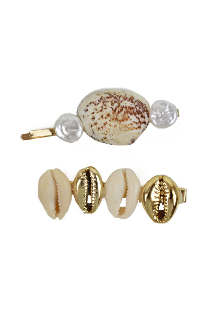 Gold Shell & Pearl 2 Piece Hairslide Set