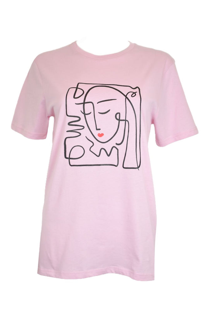 Pink Abstract Face T-Shirt