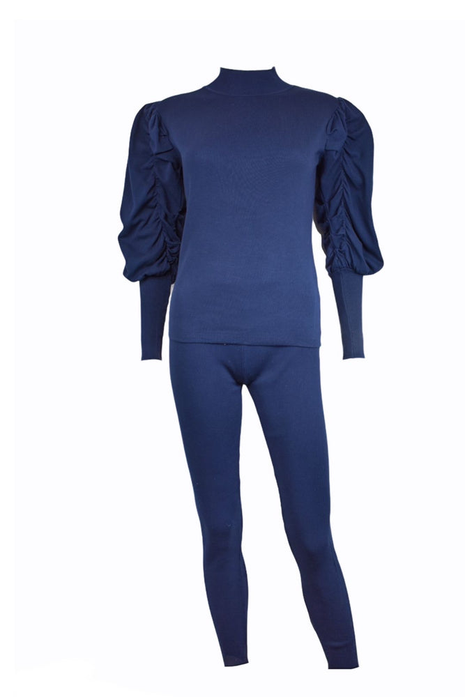 Navy Ruched Sleeve Knitted Loungesuit