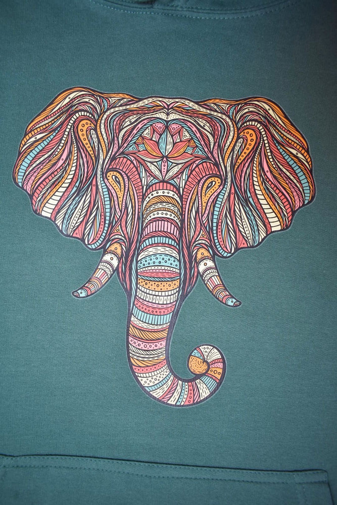 Green Striped Elephant Hoodie