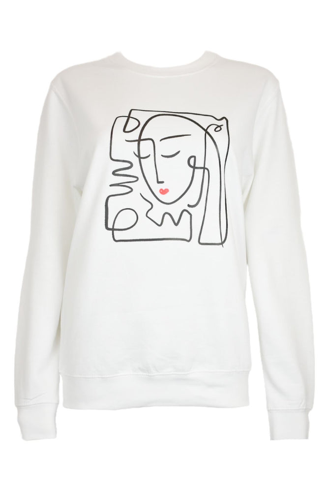 White Abstract Face Sweatshirt