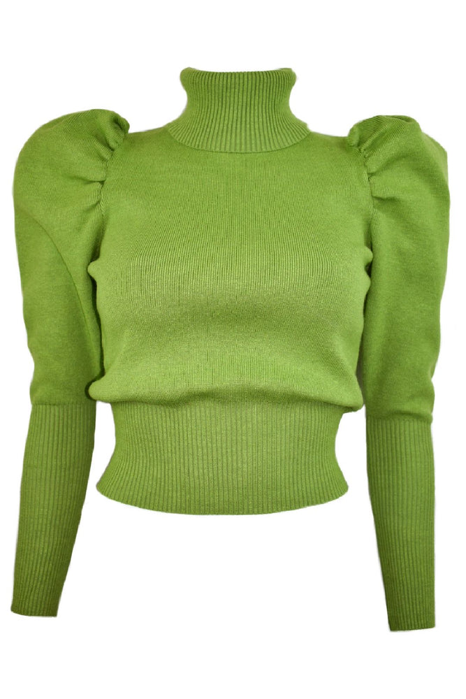 Lime Green Roll Neck Puff Sleeve Jumper