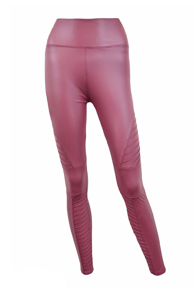 Burgundy PU High Waisted Biker Leggings