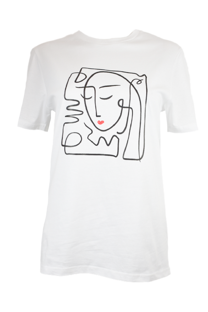 White Abstract Face T-Shirt
