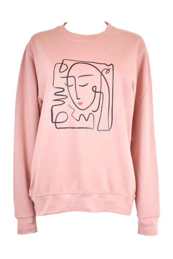 Pink Abstract Face Sweatshirt
