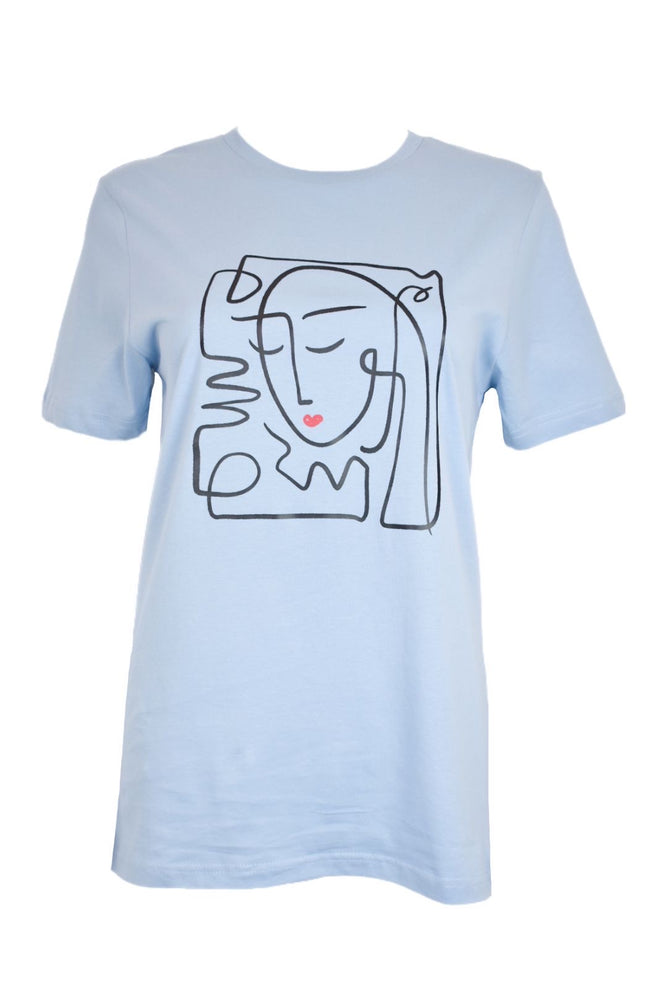 Blue Abstract Face T-Shirt