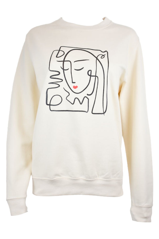 Cream Abstract Face Sweatshirt