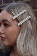 Gold AB Diamante 4 Row Hairslide