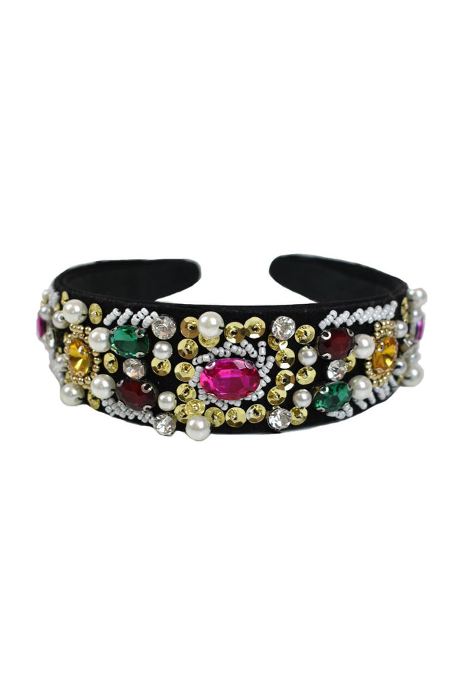 Multi Jewel & Pearl Embellished Hairband