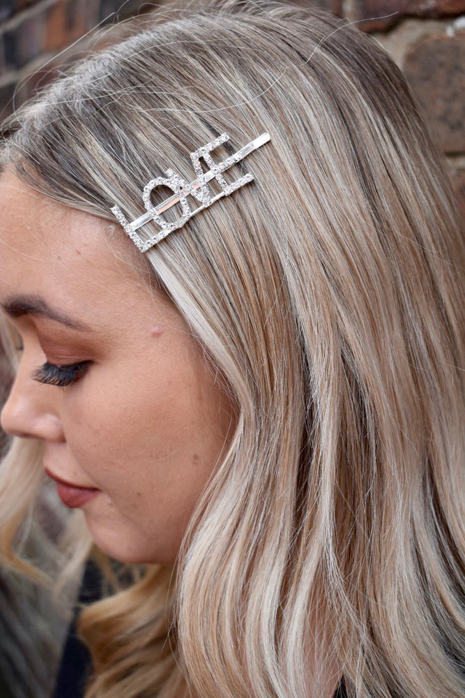 Silver Diamante LOVE Hairslide