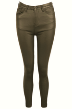 Khaki Faux Leather Jeans