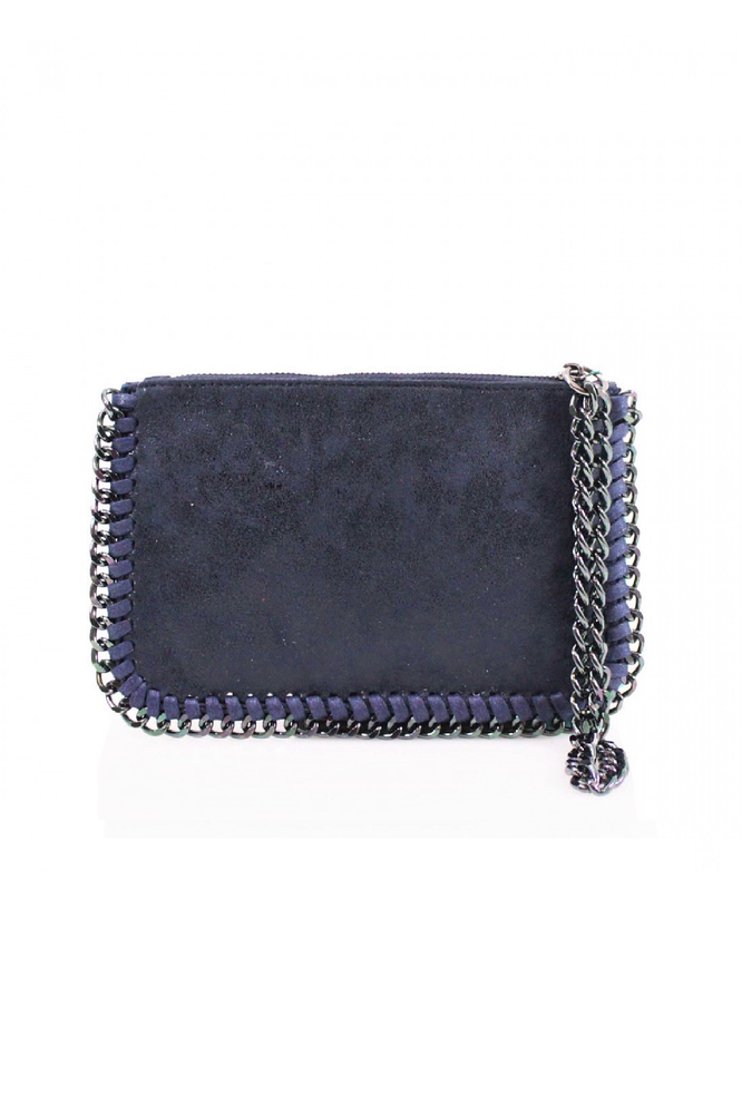 Navy Chain Edge Wristlet