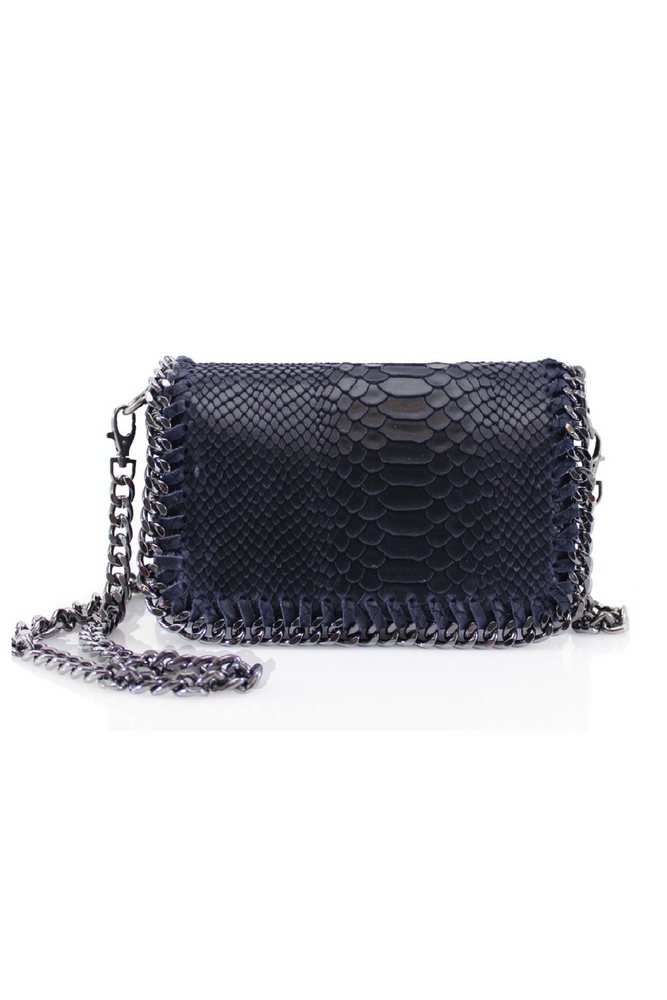 Navy Snakeprint Leather Chain Bag