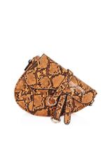 Orange Snakeprint Saddle Bag