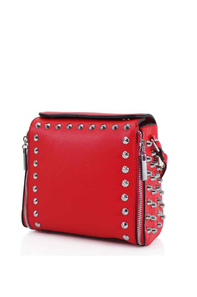 Red Studded Cross Body Bag