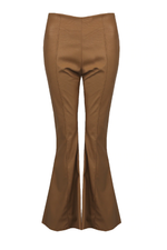 Camel Faux Leather Flared Trousers