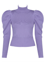 Violet Roll Neck Puff Sleeve Jumper