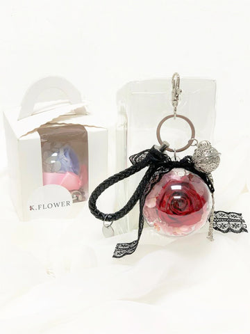 Preserved Flower Bag Charm - Pink Bella