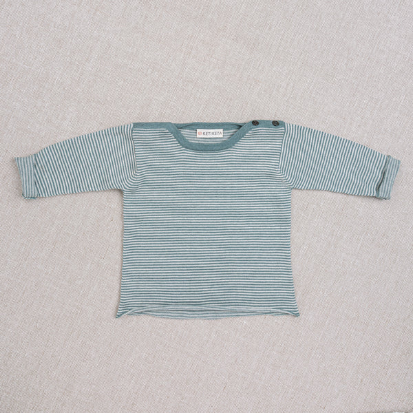Pull Léo - rayures turquoises