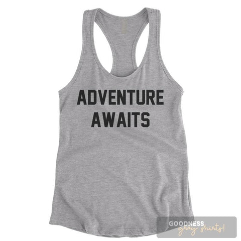 Adventure Awaits Heather Gray Ladies Tank Top