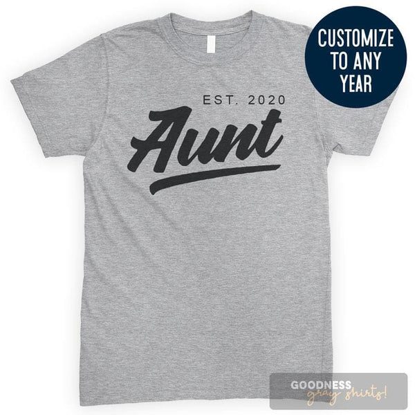 Aunt Est. 2020 (Customize Any Year) Heather Gray Unisex T-shirt
