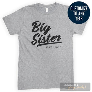 Big Sister Est. 2020 (Customize Any Year) Heather Gray Unisex T-shirt