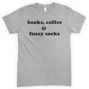 Books Coffee Fuzzy Socks Heather Gray Unisex T-shirt