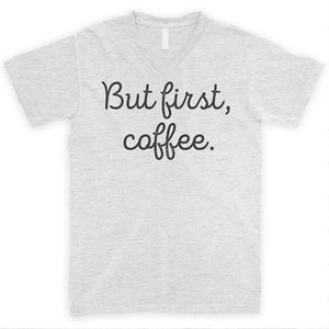 But First Coffee Heather Ash Unisex V-Neck T-shirt