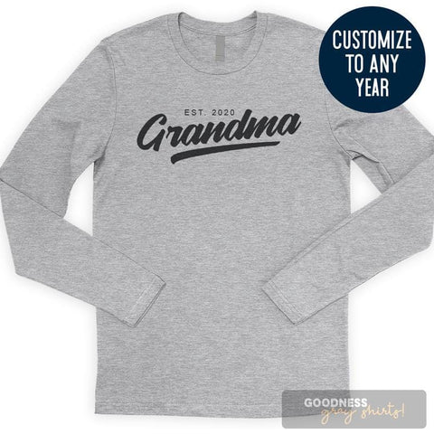 Grandma Est. 2020 (Customize Any Year) Long Sleeve T-shirt