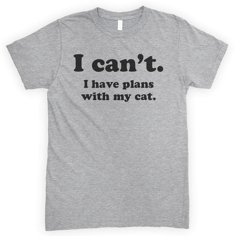 I Can't I Have Plans With My Cat Heather Gray Unisex T-shirt