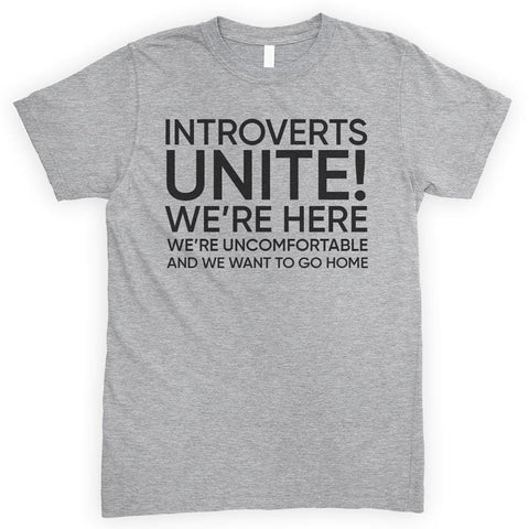 Introverts Unite! We're Here We're Uncomfortable And We Want To Go Home Heather Gray Unisex T-shirt