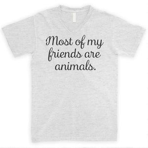 Most of My Friends Are Animals Heather Ash Unisex V-Neck T-shirt