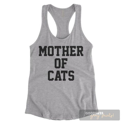 Mother Of Cats Heather Gray Ladies Tank Top