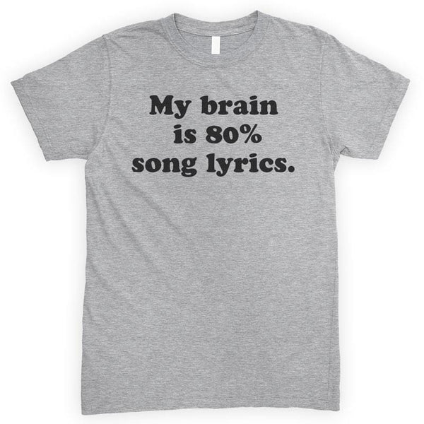My Brain Is 80% Song Lyrics Heather Gray Unisex T-shirt