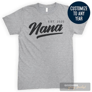 Nana Est. 2020 (Customize Any Year) Heather Gray Unisex T-shirt