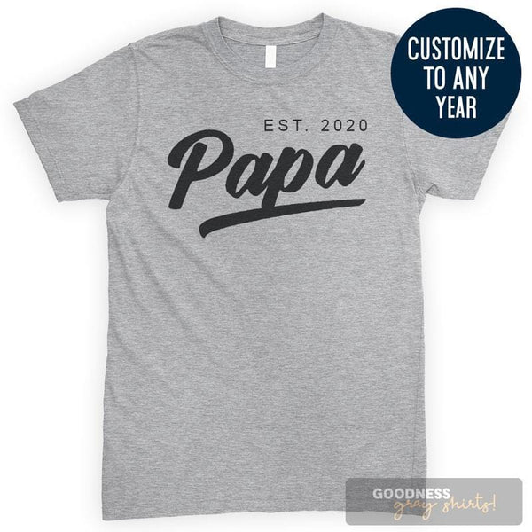Papa Est. 2020 (Customize Any Year) Heather Gray Unisex T-shirt