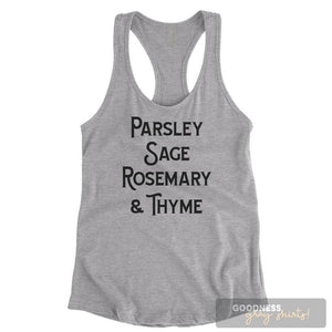 Parsley Sage Rosemary And Thyme Heather Gray Ladies Tank Top
