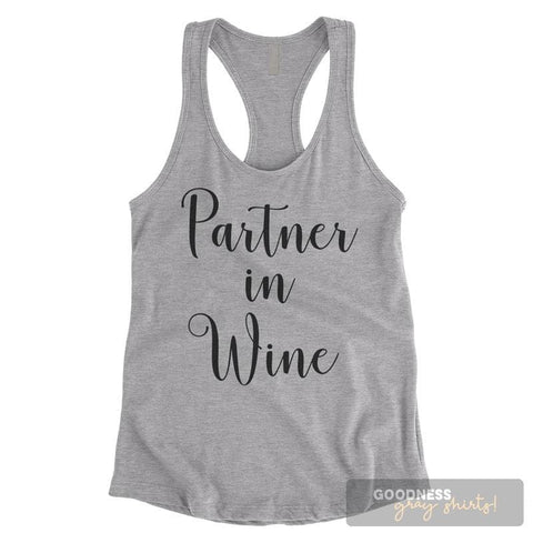Partner In Wine Heather Gray Ladies Tank Top