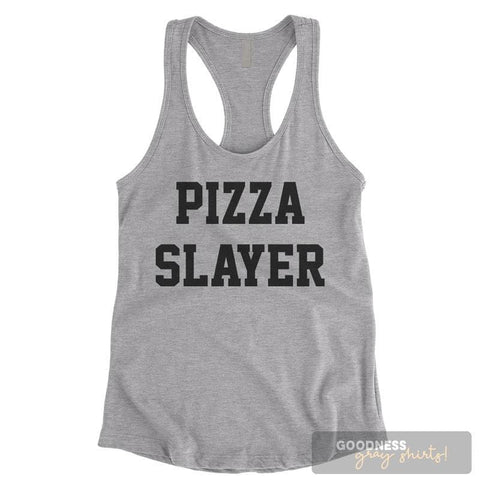 Pizza Slayer Heather Gray Ladies Tank Top