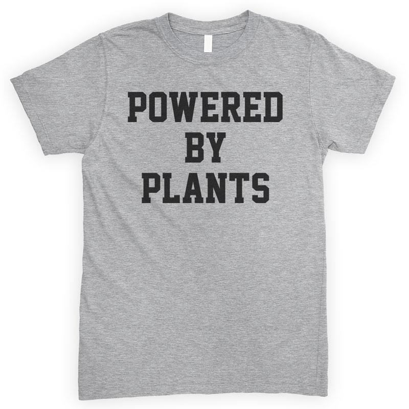 Powered By Plants Heather Gray Unisex T-shirt