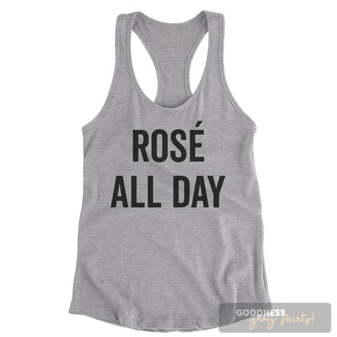 Rose All Day Heather Gray Ladies Tank Top
