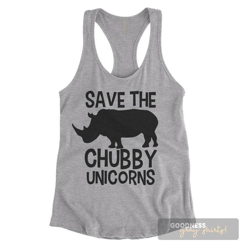Save The Chubby Unicorns Heather Gray Ladies Tank Top