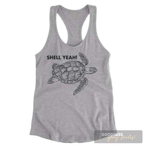 Shell Yeah Turtle Heather Gray Ladies Tank Top