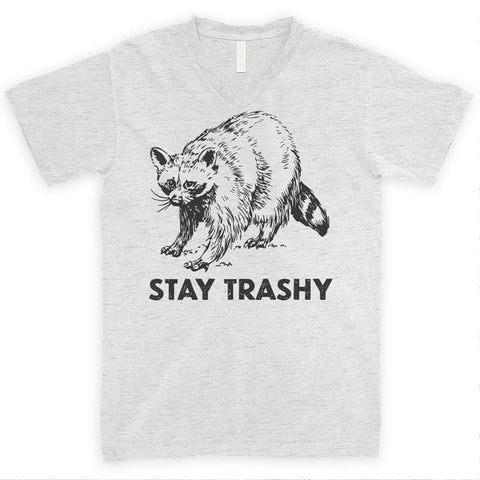 Stay Trashy Raccoon Heather Ash Unisex V-Neck T-shirt