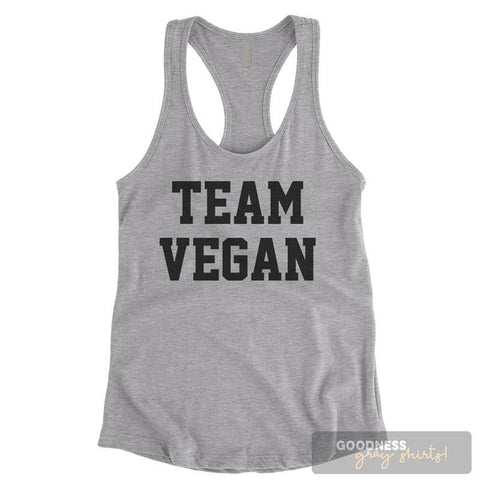 Team Vegan Heather Gray Ladies Tank Top