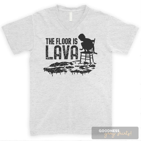 The Floor Is Lava Heather Ash Unisex V-Neck T-shirt