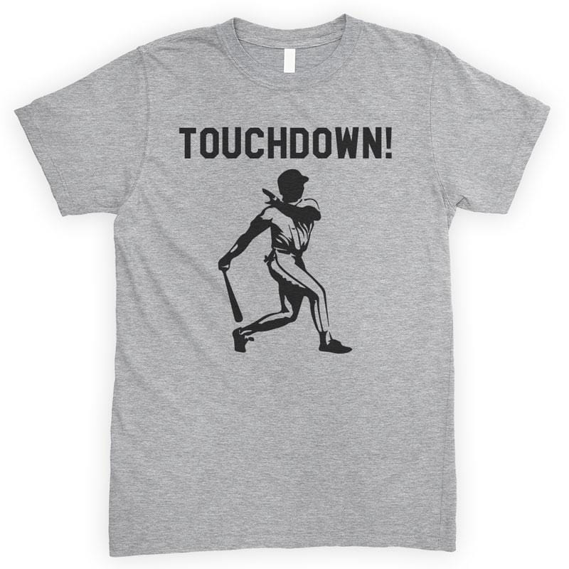 Touchdown! Baseball Heather Gray Unisex T-shirt