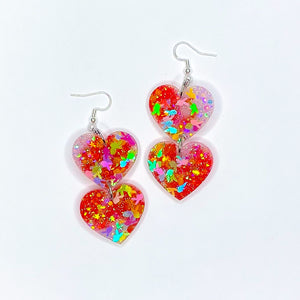 ★★Spicy Bunny Double Heart Dangles x2