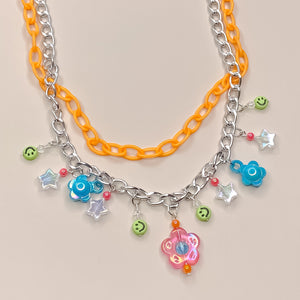 Peachy Cream Double Charm Necklace (orange/silver)