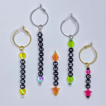 Load image into Gallery viewer, CUSTOM Zodiac Charm Earrings (black) *MADE 2 ORDER*